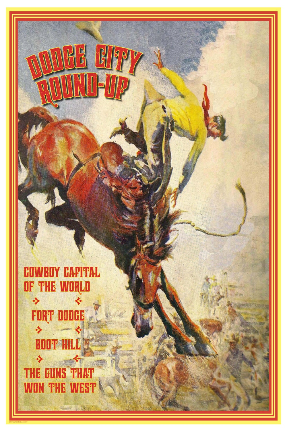 Cowboy Rodeo Poster Dodge City Kansas 18x24 By