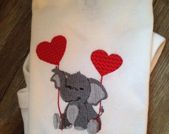 Personalized embroidered elephant onesie