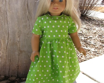 Green Dot Seersucker Dress for 18 inch doll with lace hem