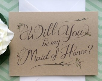 Will You Be My Maid of Honor Card - Will You Be My Maid of Honor? -Bridesmaid Card - Matron of Honor Card - Rustic Wedding Party Card
