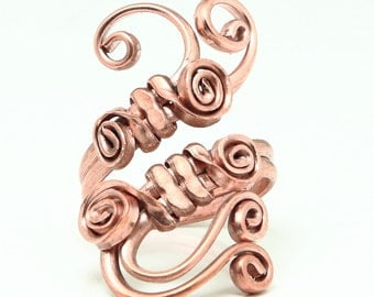 Copper Ring  with spirals details, custom made on the size you want