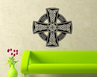 Celtic Cross Wall Decal Celtic Cross Decals Wall Vinyl Sticker Interior Home Decor Vinyl Art Wall Decor Bedroom SV5898