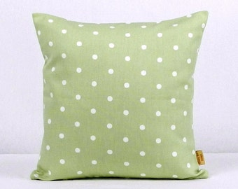 18x18, pillow, Throw Pillow, Sage Green, Decorative Throw Pillow, polka dots, spots,Throw Pillow cover, 18 inch,case ,green, white, handmade