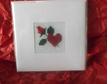 Greeting Card- Handmade- Suitable For All Occasions - Heart & Rose Cross Stitch.