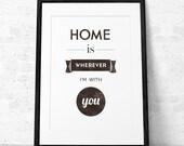 Home is whenever Im with you. Quote print. Typography poster. Love print Quote poster. Typographic print. Inspirational print. B&W print. UK