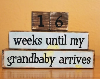Announce Pregnancy to Grandparents Countdown Blocks- Grandbaby Countdown Blocks- Grandma Countdown- Countdown Grandbaby- Maternity Pictures