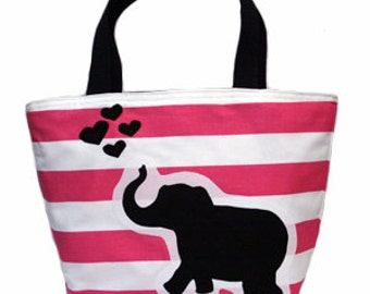 Elephant Love Patch Tote (Hot Pink)