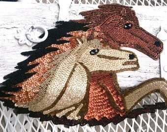 HORSE APPLIQUE Large Applique Patch Sew On Beaded applique Western ApPlIqUe