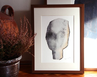 Minimalist Wall Art, Grey Modern Art Print, Abstract Portrait, Giclee Painting A4