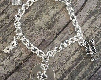 Charm Bracelet with Hand Stamped Disc