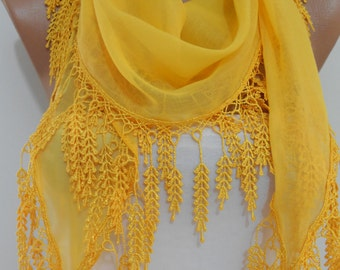 So Soft bright yellow scarf shawl Cowl scarf with laced Cotton scarf Holiday Fashion Accessories Mothers Day Gift Ideas for her For Mom