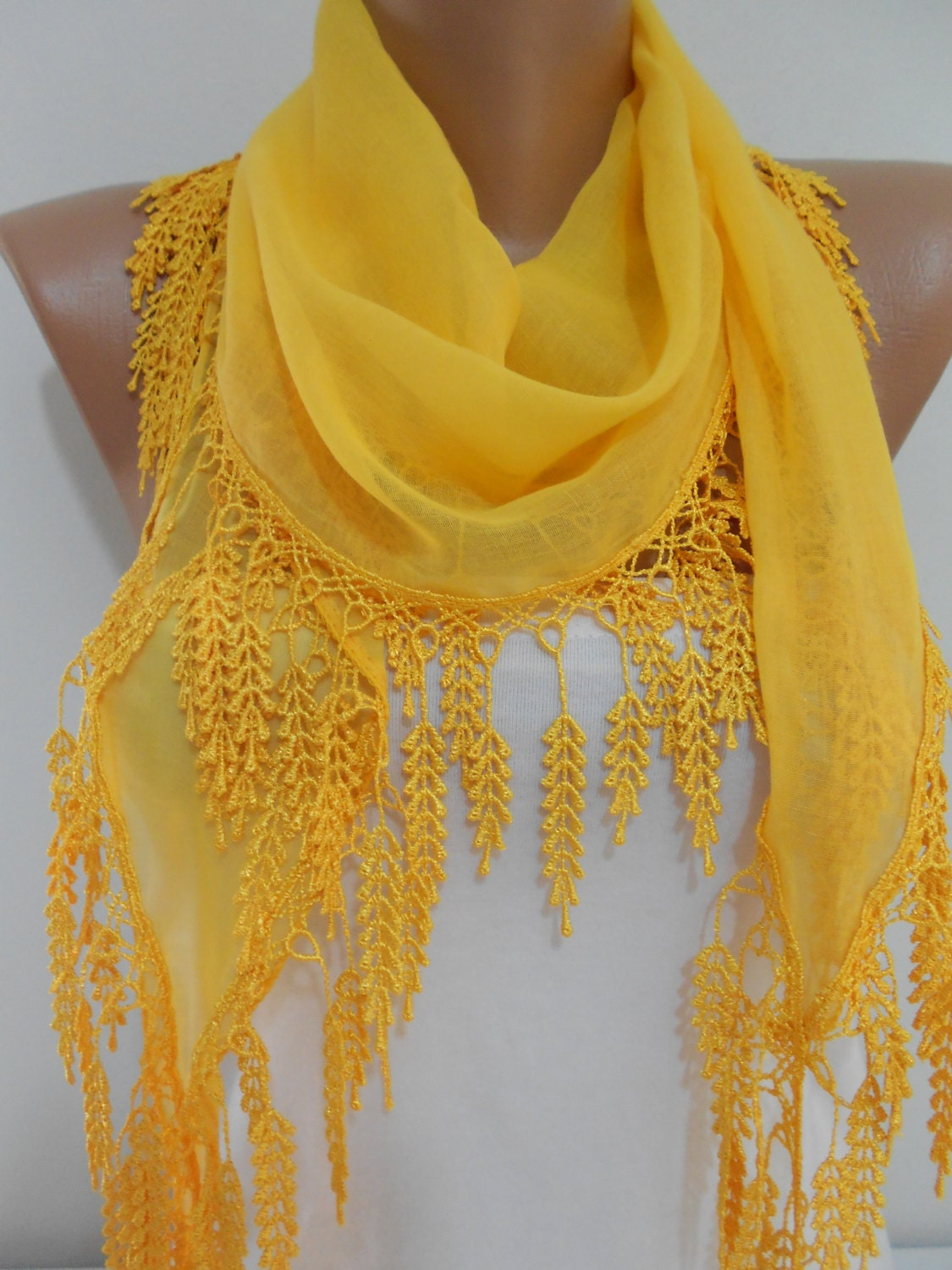 so soft bright yellow scarf shawl cowl scarf with laced cotton