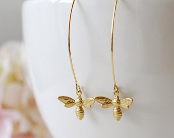 Gold Bee Earrings. Gold Plated Brass Bee Long Dangle Earrings. Bee Jewelry. Spring Summer Bee Accessory, gift for mom, Mothers day gift
