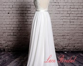 Sweetheart Satin Neck with V Shape Lace Neckline Wedding Gown Outside Bridal Gown Chiffon Wedding Dress A-line Wedding Dress