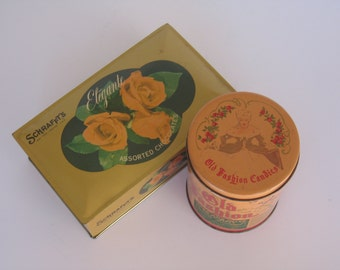Pack Your Sweets! Two Vintage Candy Tins- Schrafft's Elegante Chocolates, Hinged Box with Shabby Roses & Old Fashioned Candies Tin