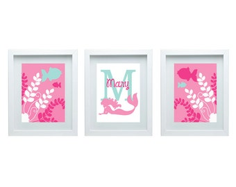 Mermaid Nursery Decor Print Custom Initial Girl Room Decor Personalized Name Art Pink Aqua Wall Art Print Set of 3 - 8x10 Choose Your Color