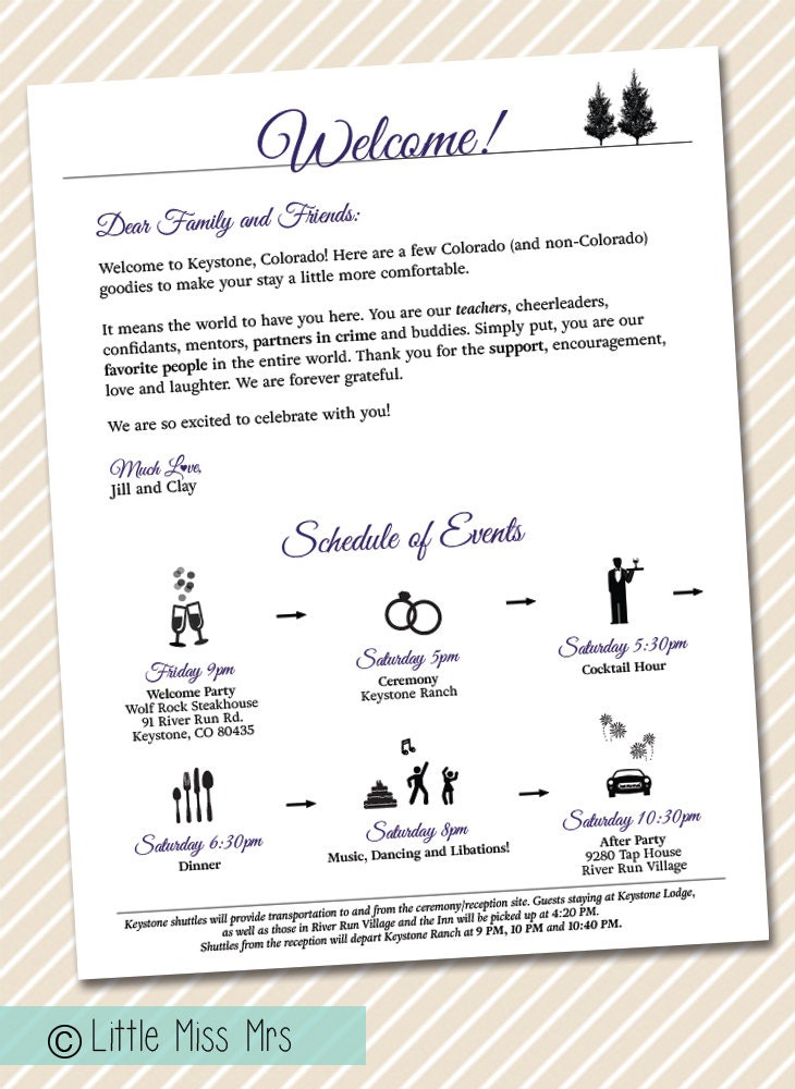 wedding welcome letter timeline of events weekend itineraries wedding weekend schedule of events for wedding guests