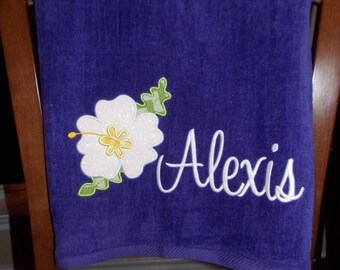 Personalized Beach Towel - Hibiscus Flower