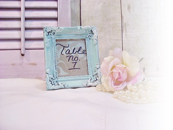 Ornate Wedding Frames Table Numbers Victorian Shabby 4x4 Vintage Wedding Robins Egg Blue