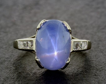 Art Deco Antique Engagement Ring - Star Sapphire & Diamond 1920s Platinum Art Deco Engagement Ring