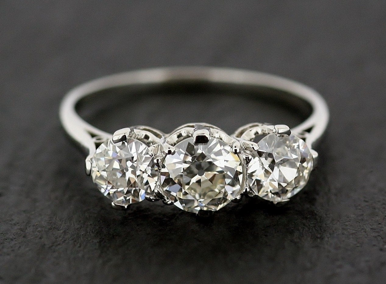 Antique Engagement Ring Three Stone Diamond & by AlistirWoodTait