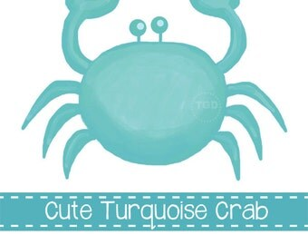 Preppy Turquoise Crab - Original art download, 2 files, turquoise crab clip art, beach art, crab printable
