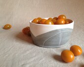 Grey and White Stoneware Bowl: minimal decoration, modern handmade, hand built, slab built and hand carved.