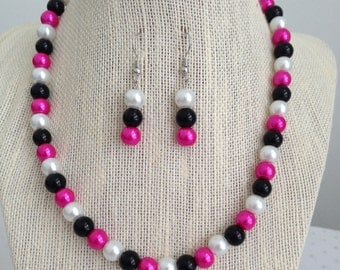Pink and Black Beaded Necklace, Multicolored Beaded Jewelry, Pink and Black Wedding Jewelry, Bridesmaid Necklaces, Colorful Jewelry Set