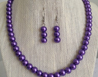 Purple Pearl Bridesmaid Necklace, Purple Wedding Jewelry, Pearl Necklace, Purple Jewelry, Purple Bridal Jewelry, Bridesmaid Gift