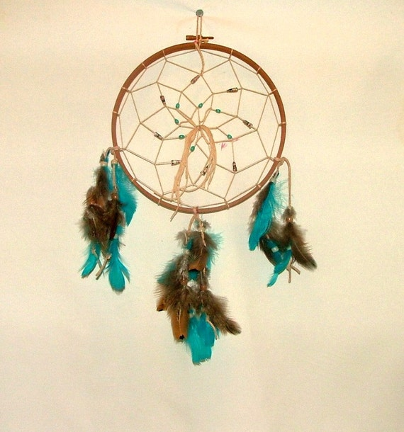 Dream catcher 8 1 2 brown with turquoise and brown for Dreamcatcher beads meaning