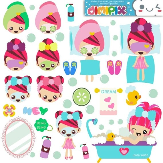 Spa party / Kit printable / Digital Clipart / Instant by DimiPix