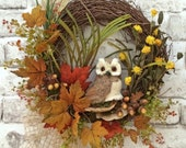 Owl Wreath, Fall Wreath for Door, Autumn Wreath, Front Door Wreath, Outdoor Wreath, Silk Floral Wreath, Grapevine Wreath, Fall Door Wreath