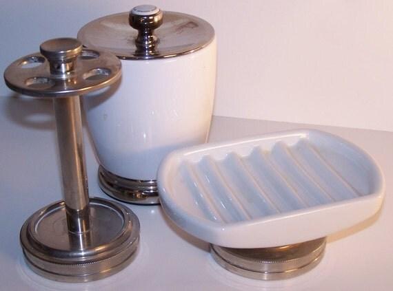 Vintage White Porcelain & Brushed Nickel Craftsman Style