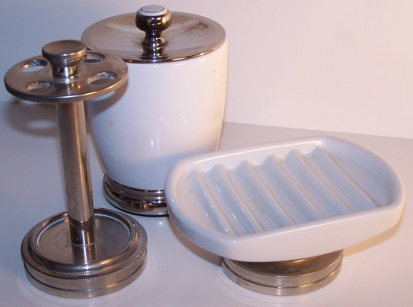 Vintage White Porcelain & Brushed Nickel Craftsman Style