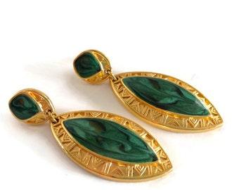 Vintage Berebi Gold and Green Enamel Post Dangle Earrings