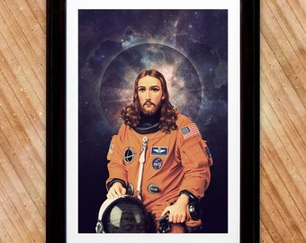 Jesus Christ Astronaut Poster, A Holy Space Print
