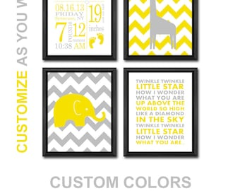 new baby room decor baby nursery prints elephant giraffe baby stats wall art