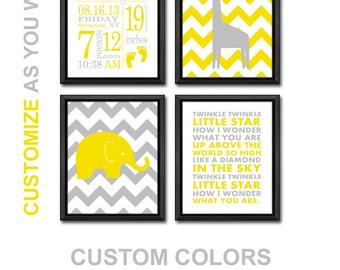 new baby room decor personalized, baby nursery prints elephant giraffe, baby stats wall art, baby decor with stats, baby wall art, birth art