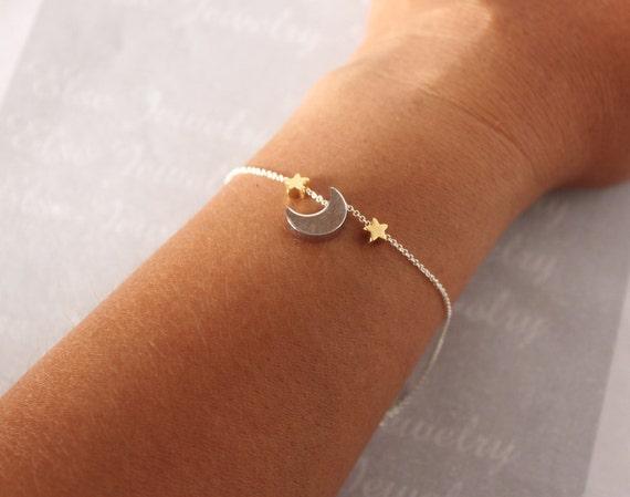 Moon Star Bracelet Gold Silver Moon Star Add More