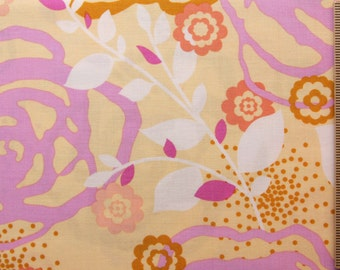 Erin McMorris fabric Weekends Saturday EM21 Butter pink yellow red floral 100% Cotton Fabric Sewin Quilting fabric by the yard freespirit