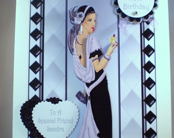 Handmade Decoupage, 3D Art Deco,Elegant Lady Birthday Card,Personalise