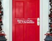 Merry Christmas Door Decal - Entry way Christmas wall decal - Holiday Decals for Door - Front Door Welcome  - Vinyl Lettering