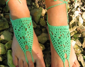 BLACK FRIDAY SALE! Ready to ship! Barefoot Sandals, green Crochet Sandals, Foot Thongs, Nude Shoes, Lace Sandles