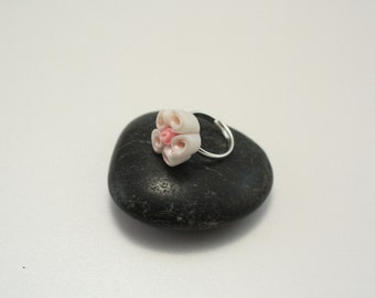 Polymer clay ring, rose bouquet ring, flower ring, filigree ring, polymer clay jewelry, flower jewelry, polymer clay rose, gift for her