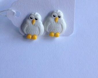 White Owls earrings