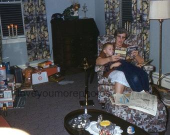 Instant Download..Vintage Kodachrome Red Border Slide..Christmas Night Stories..1950's..Vernacular Photo..Christmas Photo..Vintage Christmas