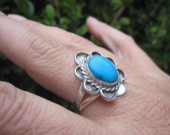Turquoise and Sterling  Ring Size 9