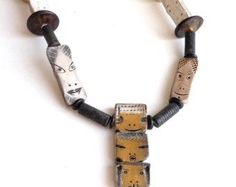 1980s Ceramic Necklace Modern Tribal Heads