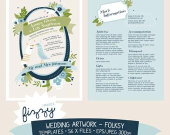 Eps/Jpeg: 56 x EU/UK/AU Wedding Invite Templates - Floral Folksy - Digital files with Instant Download. TEM0010
