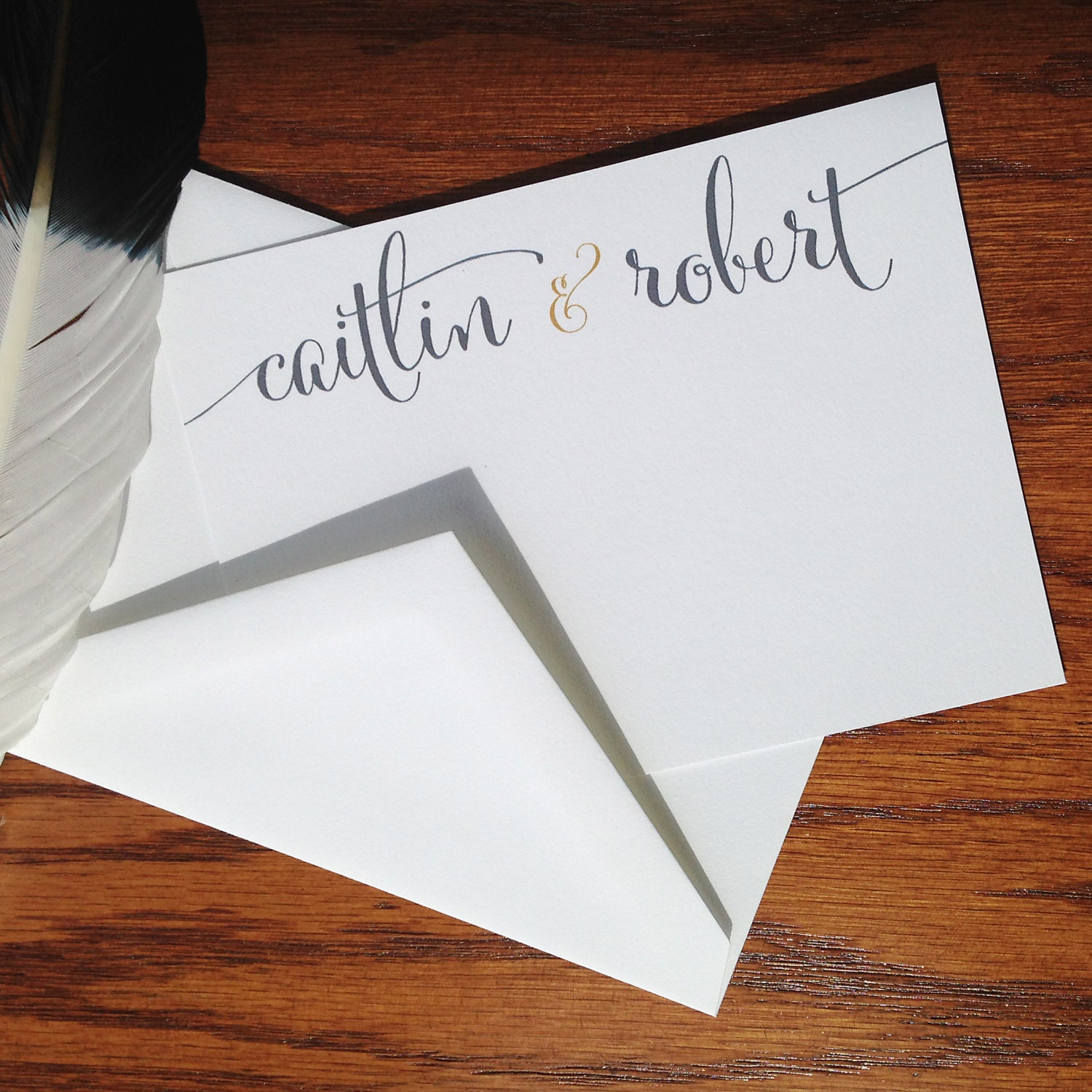 Wedding Thank You Notes Calligraphy Flat Thank You Notes